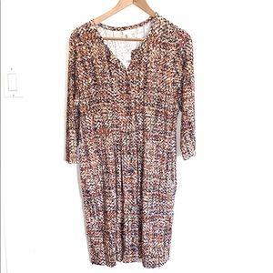 NWT J. Jill Patterned Button Closure Midi Dress